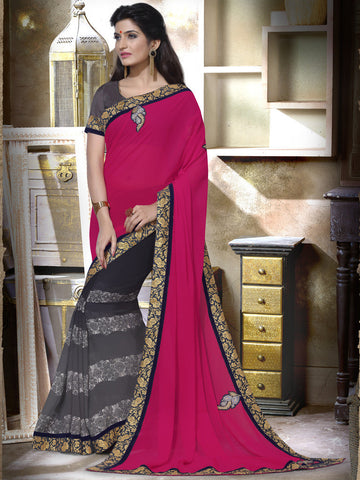 Designer pink and grey saree
