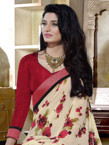 Saree Cream , Red,Georgette Print
