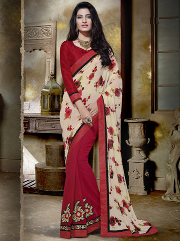 Red Saree with printed cream pallu