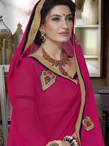 Saree Pink , Beige,Georgette Plain