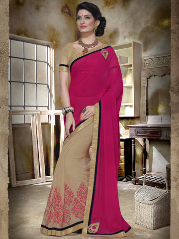 Pink and beige georgette print partywear saree