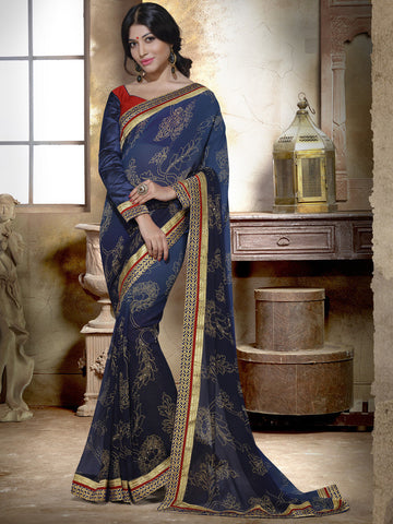 Blue georgette saree with prints
