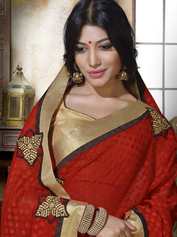Saree Red , Beige,Jacquard