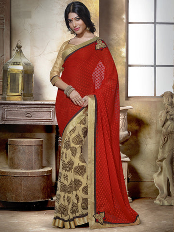 Beige and red partywear saree with golden blouse