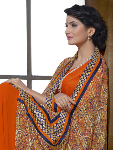 Saree Orange,Georgette Print