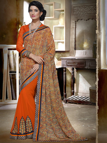Orange saree with georgette print pallu