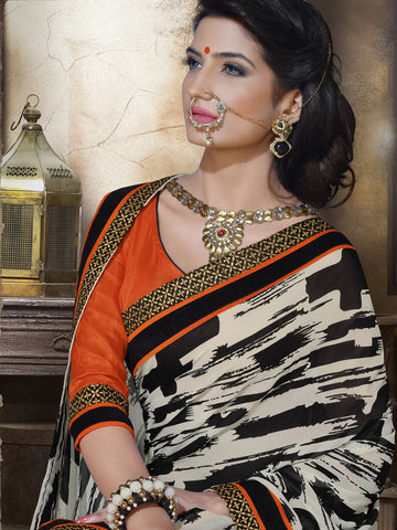 Saree Off White , Orange,Georgette Print