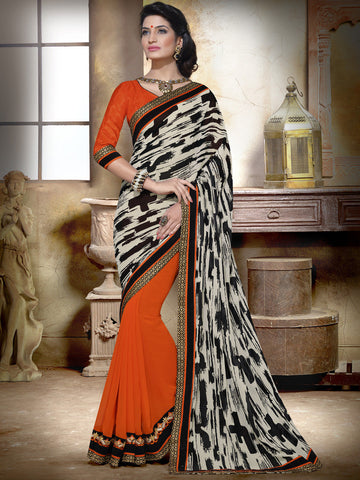 Off white and orange partywear georgette half and half saree