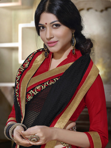 Saree Black , Red,Net Jacquard