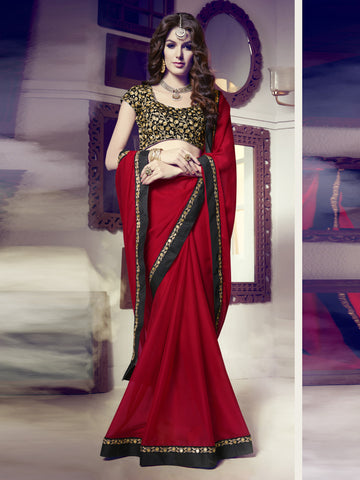 Red,40gram Chiffon Striped,Party wear designer saree