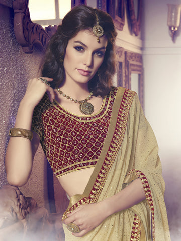 Beige  ,Smoke Fosi Georgette,Party wear designer saree