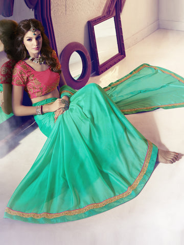 Aqua , Pink,Pure Nylone Chiffon,Party wear designer saree