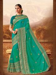 Green Silk Saree With Green Blouse
