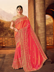 Red Two Tone Silk Saree With Golden saree