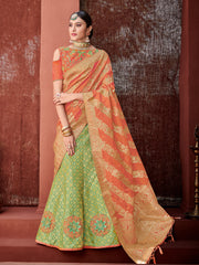 Green Orange Silk Party Wear Lehenga With Orange Choli