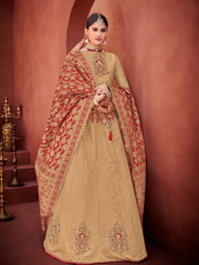 Gold Maroon Silk Party Wear Lehenga With Maroon Choli