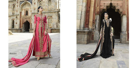Long designer party wear heavy embroidery suits floor length,Pink,Georgette