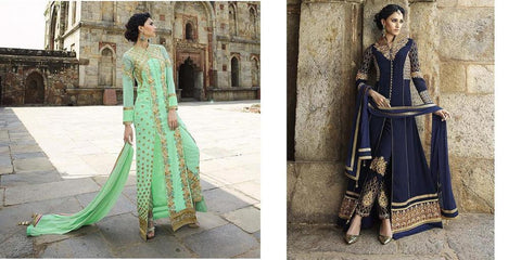 Long designer party wear heavy embroidery suits floor length,Sea Green,Georgette
