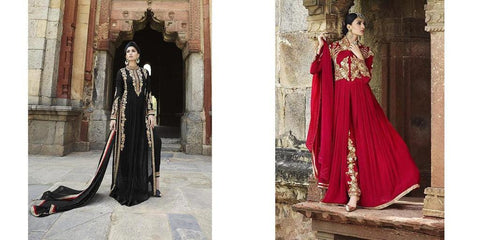Long designer party wear heavy embroidery suits floor length,Black,Georgette