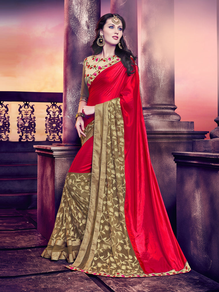 73671d8f09ea6e Shop Online Red And Gold Saree On USA – Banglewale International