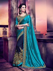 Silk And Georgette Drak Cyan And Violet Floral Saree With Violet  Raw Silk Blouse