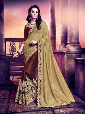 Silk And Gerogette Gold And Maroon Floral Saree With Maroon  Raw Silk Blouse