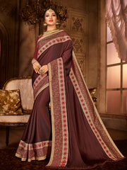 Brown Satin Silk Party Wear Saree With Maroon Blouse