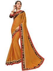 Orange Two Tone Chiffon Pattern Embroidery Saree With Blouse