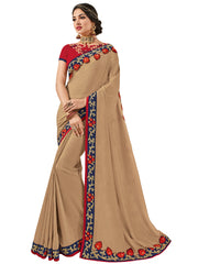 Beige Silk Fabrics Embroidery Saree With Blouse