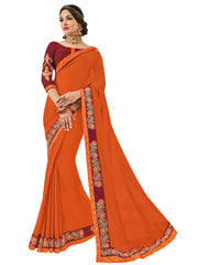 Orange Moss Chiffon Embroidery Saree With Blouse
