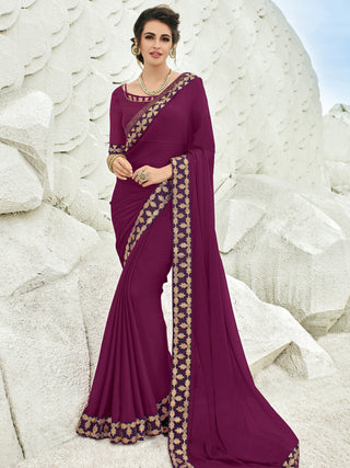 Maroon Chiffon Party Wear  Saree With Maroon Blouse