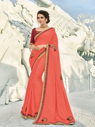 Pink Silk Party Wear  Saree With Maroon Blouse