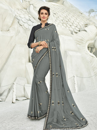 Grey Chiffon Party Wear  Saree With Grey Blouse