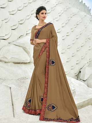 Beige Georgette Party Wear  Saree With Beige Blouse