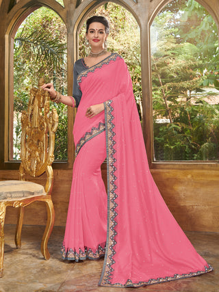 Pink Silk Party Wear Saree With Grey Blouse