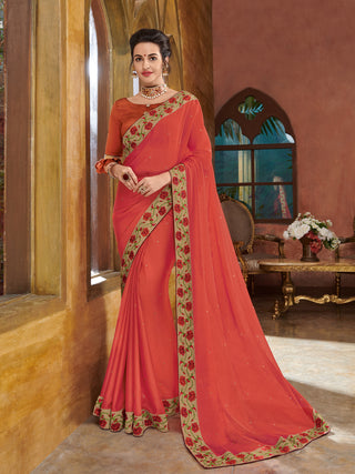 Orange Georgette Party Wear Saree With Orange Blouse