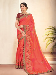 Orange Silk Party Wear Saree With Maroon Blouse
