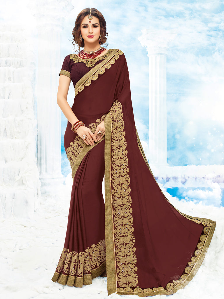 a5e95b360ae5b9 Buy Online Maroon Sarees On Cash On Delivery Below 3000 – Banglewale  International
