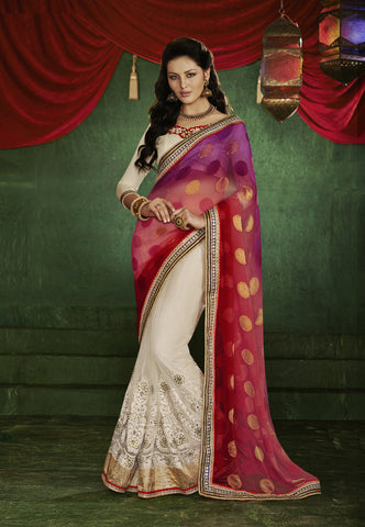 Home shop designer red and black half half saree for parties