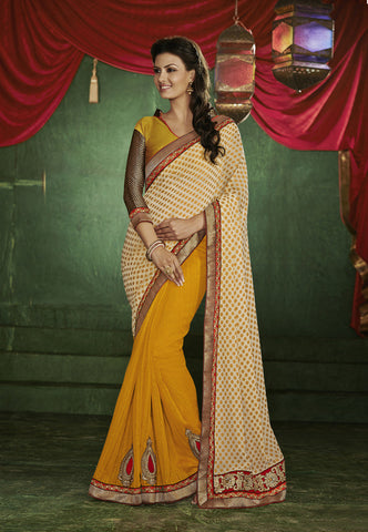 latest designer saree of crepe and jacquard in orange and beige