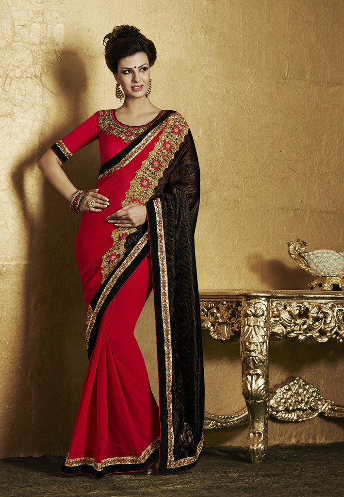 139e3d7a09 Designer Yellow Lycra saree with embroidery. Designer red and black ...