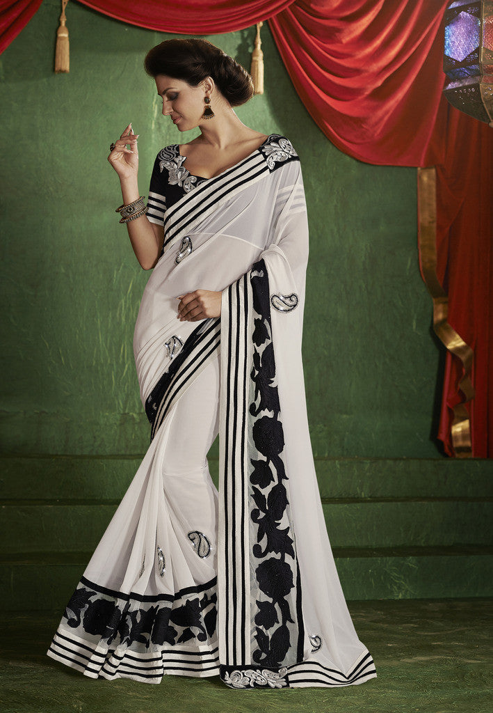 06b1a24121 Fancy satin chiffon light gold saree with black color blouse. Designer  georgette black and white saree for women ...