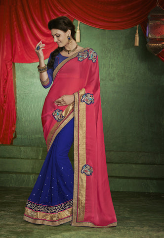 Designer red and beige saree in half half style
