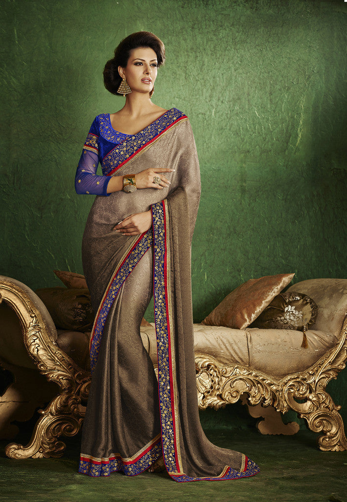 45bc6e92e5b Pink and beige crepe silk sree. Designer brown and violet traditional saree  ...