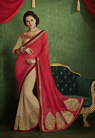 Designer chiffon pin and blue half half saree for parties and Designer red and beige saree in half half style Combo Offer