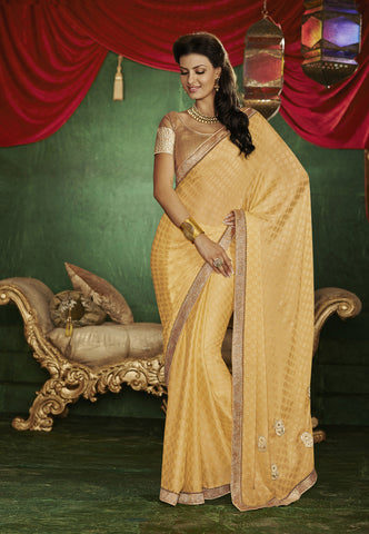 Designer chiffon pin and blue half half saree for parties and Designer Party Wear jacquard light golden saree Combo Offer