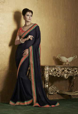 Designer chiffon pin and blue half half saree for parties and Designer crepe black saree with designer blouse of red color Combo Offer