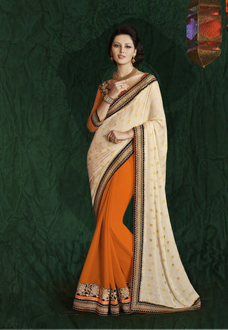 Designer fancy jacquard half half saree for parties and weeding and latest designer saree of crepe and jacquard in orange and beige Combo Offer