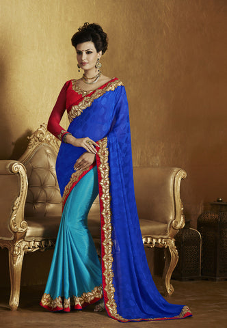 Designer fancy jacquard half half saree for parties and weeding and Latest designer jacquard half half blue saree with red designer blouse Combo Offer