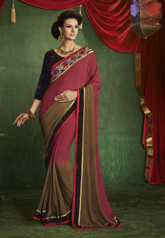 Georgette Saree, Jacquard Saree, Half and half saree, Wine color Saree, Dark Maroon Saree, Raw Silk Blouse, Green Blouse, Blouse with work